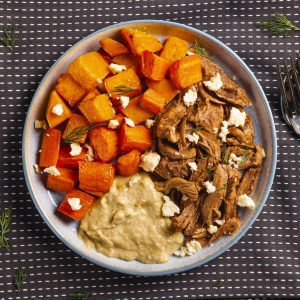 Weight loss meal Lamb Leg with Roasted Pumpkin