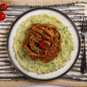 Slow Cooked Beef with Creamy Potato and Spinach Mash
