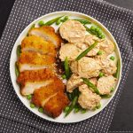 Chicken Schnitzel with a Chat Potato Salad everyday meal