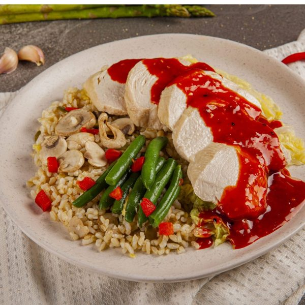 Muscle Meals Korean Chicken with Wombok, brown Rrice